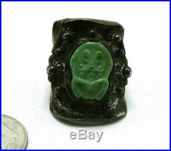 VINTAGE / ANTIQUE GREEN TURQUOISE FROG ADJUSTABLE RiING 7.7 GRAMS SIGNED SILVER