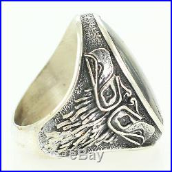 VINTAGE Bell Trading Sea Hawk 925 STERLING Silver Abalone Mans RING Sz 8.5 20.8g