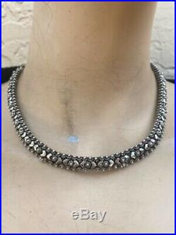 VINTAGE HEAVY STERLING AMERICAN INDIAN CHOKER NECKLACE With DAISIES & ARROWS