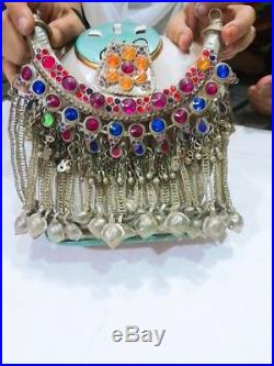 VINTAGE KUCHI NECKLACE Large Old Tumar Tribal Jewelry Pendant Necklace