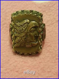 VINTAGE MENS MEXICAN BIKER RING Indian headdress Eagle Bear 3 sides 3 tone