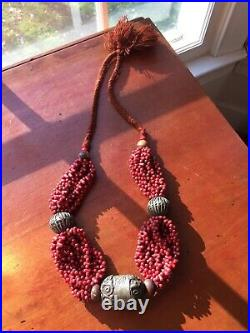 VINTAGE Multi-Strand Red Coral Glass Bead Necklace w Silver Ball Tibetan 30