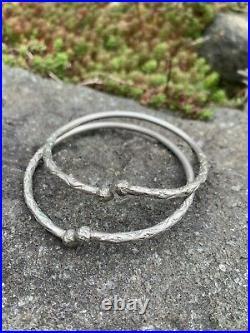 VINTAGE STERLING SILVER Stamped Etched SLAVE CUFF BRACELET a