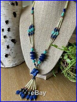 VINTAGE Southwestern HEISHI Shell Carved Bird Lapis Turquoise Necklace Rare
