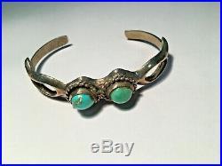 VTG Native American Navajo 925 Sterling sandcast turquoise cuff bracelet