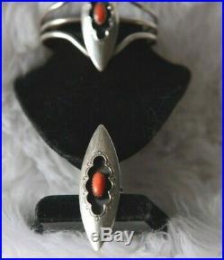 VTG. Native American Sterling Shadow box Coral Bracelet & Ring Set- No reserve