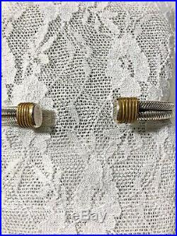 VTG Sterling Silver 925 Twisted Adjustable Handmade Onyx Cuff Bracelet Mexico