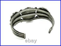 VTG Sterling Silver ZUNI NAVAJO Turquoise Petit Point 6 Cuff Bracelet 38.6g