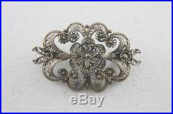 VTG or Antique Silver Filigree Floral Pin Brooch Unmarked Unsigned