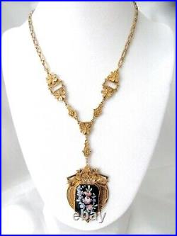 Victorian Revival Lavaliere/Necklace Hand Painted Signed Made in Germany L@@K