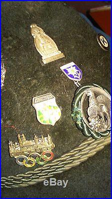 Vint Ottmar Reich Green Velour Oktoberfest Hat/Fedora with 32 Vint. Pins-1 Rommel