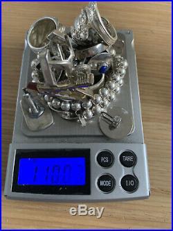 Vintage 110g sterling silver jewelry lot Rings Cufflinks Bracelets Scrap Italy