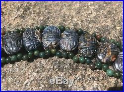 Vintage 15k Rolled Gold Egyptian Bloodstone Agate Scarab Beetle Motif Necklace