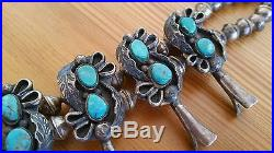 Vintage 1960's Old Pawn Navajo Sterling Silver Turquoise Squash Blossom Necklace