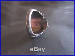 Vintage 1965 Balinese ring, granulation siver- carnelian, size9, Free Shipping