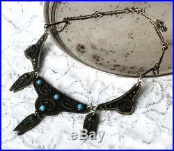 Vintage 70's ethnic Abkhazian necklace with turquoise blue enamel