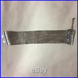 Vintage 900 Silver Trabozon Turkish Woven Mesh Bracelet 7