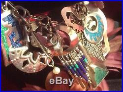 Vintage 925 Sterl Navajo Zuni Native American Culture Spiritual Charm Bracelet