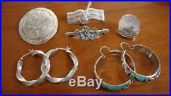 Vintage. 925 Sterling Silver Lot Of 6 Items Brooch And Earrings 62.1 Grams