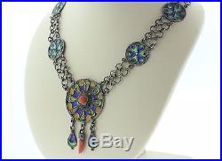 Vintage Algerian Kabyle Moroccan Berber Sterling Silver Enamel & Coral Necklace