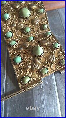 Vintage Amazing Egyptian Gilt Sterling Silver & Green Turquoise Cuff Bracelet