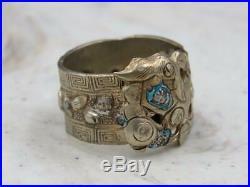 Vintage Antique Chinese Gilt Dragon Enamel Adjustable Wrap Ring Sz 6.5