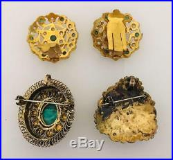 Vintage Antique Ethnic Guilt 3 PC Lot Brooch & Earrings Multi Gemstone & Pearl