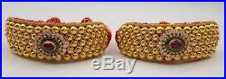 Vintage Antique Traditional Handmade 20k Gold Jewelry Beads Bracelet Bangle Pair