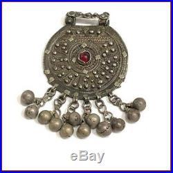 Vintage Antique Tribal Rare Old Silver Yemen Amulet Boho Pendant Ethnic Jewelry
