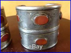 Vintage Antique Turkmen Silver Carnelian Gemstone Large Cuff Bracelets