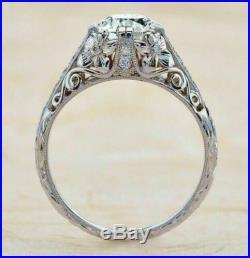 Vintage Art Deco 2.55Cts Round Diamond Engagement & Wedding Ring 14K White Gold