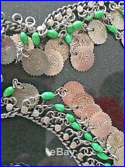 Vintage Art Deco Silver Coins Slag Glass Belly Dance Belt Necklace