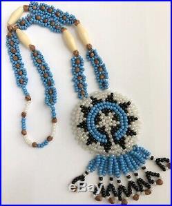 Vintage Artisan Beaded Long Ethnic Pendant Amulet Necklace