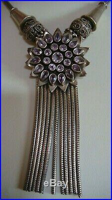 Vintage BALI 925 Dangle Flower Purple Amethyst Necklace Sterling Silver Tassel