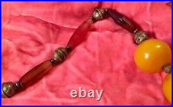 Vintage Banded Agate Necklace & Antique Silver Tone Beads & Large Round Yellow B