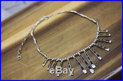 Vintage Black Onyx Sterling Silver Zuni Signed Necklace Cuff Bracelet EarringSet