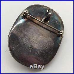 Vintage Bone 925 Brooch or Pendant Jewelry Eskimo Indian Inuit Tlingit (RF678)