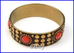 Vintage Brass & Red Orange Enamel Dot Bangle Bracelet Ethnic Studded