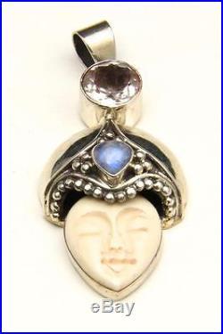 Vintage Carved Goddess Pendant Sterling Silver Moonstone Faceted Quartz Artisan