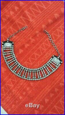 Vintage Cleopatra Heavy 214 grams Bib Choker 925 Sterling Silver Necklace