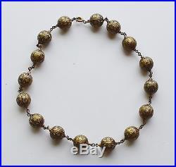 Vintage Damascene 24K Gold Geometric 16 Sphere Necklace