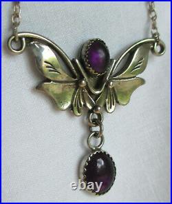 Vintage Designer Les Baker Sterling Silver Amethyst Necklace & Earring Set GIFT