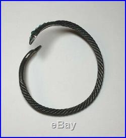 Vintage Egyptian 900 Silver Turquoise & Pink Stone Eye Snake Bracelet