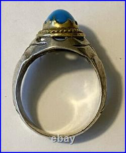 Vintage Estate Mens Two Tone Sterling Silver Turquoise Ring Size 10.25