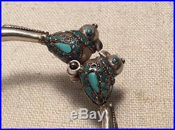 Vintage Ethnic Sterling Silver & Turquoise Turtle Doves Hinged Bracelet