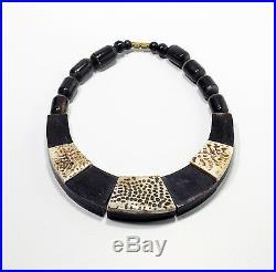 Vintage Ethnic Tribal Black & White Bib Necklace