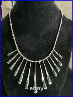 Vintage Ethnic Tribal Sterling Silver Unique Signed Malachite Dangle Necklace