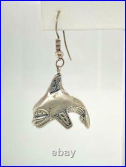 Vintage First Nations Killer Whale Orca Sterling Silver Earrings Dangle Pierced