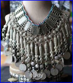 Vintage Framed Afghan KUCHI Tribal CHOKER NECKLACE Very Good Coin Jewelry Fine