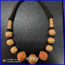 Vintage Gold Gulied Handicarft Very Unique Carved Beads Necklace / Coker